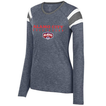 Alamo City SC (Red Print With Crest) - Ladies Long Sleeve Fanatic Tee Thumbnail