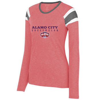 Alamo City SC (Navy Print With Crest) - Ladies Long Sleeve Fanatic Tee Thumbnail